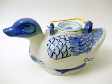 Blue White Ceramic Duck Tea Pot Hand Painted Reed Metal Handle Removable Lid