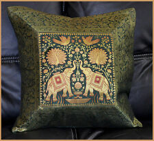 GREEN COLOR HANDWOVEN ELEPHANT SILK BROCADE PILLOW/CUSHION COVER FROM INDIA !