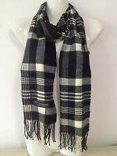 100% CASHMERE SCARF PLAID DESIGN4 COLOR BLACK WHITE MADE IN SCOTLAND SUPER SOFT