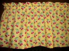 Red Cherries Fruit Yellow Polka Dot waverly fabric curtain window topper Valance