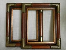 MID CENTURY WOOD PICTURE FRAMES WITH BRASS CORNERS ~ TWO MATCHING ~ 11.5 x 13.5