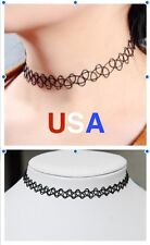 Tattoo Choker Stretch Necklace Black       USA SELLER