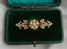 Antique VICTORIAN 15ct GOLD Multi Seed Pearl Floral MOURNING Bar Brooch 7.15gms