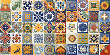 SET #003 contain 50 Mexican 2x2 Ceramic Tiles Handmade Talavera Clay Tile