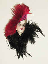 Unique Creations Small Art Deco Lady Face Mask Wall Hanging Decor -Red/Black