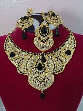 iNDIAN BOLLYWOOD GLAMOUROUS GOLD PLATED COSTUME PARTY WEAR JEWELRY with Tikka