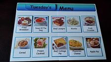 DAILY MENU BOARD + 50 MEAL CARDS- BREAKFAST/LUNCH/DINNER ITEMS - CARE HOME/ SEN