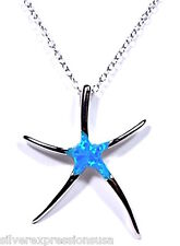 Blue Fire Opal Inlay Genuine 925 Sterling Silver Starfish Pendant Necklace 18''