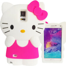 3D Hot Pink & White Hello Kitty Case for Samsung Galaxy Note 4 Bow Soft Cover