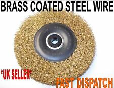 "Brass Coated Wire Wheel Brush For Bench Grinder 6"" 150mm 6000 rpm"