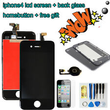 For Iphone4 Replacement LCD Touch Screen Digitizer Glass +back cover+homebutton