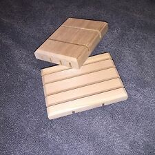 (2) Wooden Soap Dishes - Natural Cedar - Small/Medium - Free Shipping