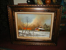 Vintage Oil Painting On Canvas-Barn House Snow Field Trees-Signed Rob Orij?-LQQK