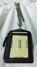 NEW LEATHER ID BADGE HOLDER BLACK ZIPPERED LANYARD WITH NECK CHAIN 3 CARDS SLOT