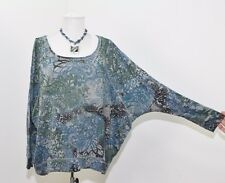 DKNY Jeans Oversized Boxy Fit Dolman Sleeve Teal Blue Paisley Floral Top L A48