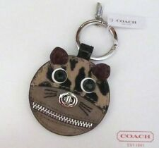 COACH CAT LEOPARD OCELOT ZIPPERED SUEDE LEATHER KEY CHAIN KEY RING FOB
