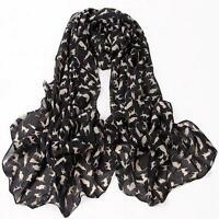 Cat Print Scarf Celebrity Fashion Shawl Scarves WRAP Ladies Animal Soft BLACK