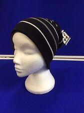 Unisex Reversible Beanie Cap Hat Doble Forrado Muy Cálido 4 Diseño Negro Gris