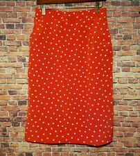Liz Claiborne Red Polka Dot Skirt Size 12 Womens Silk Feel  Lined Bottom Casual