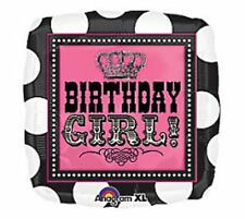 """Lot of 5 18""""  PINK & BLACK SQUARE BIRTHDAY GIRL PARTY BALLOONS Helium Mylar"""