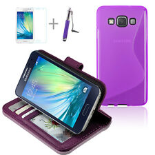 PURPLE WALLET 4in1 Accessory Bundle Kit TPU Case Cover For Samsung Galaxy A3