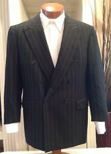 Brioni Tiberio Mens Black Gold Pinstripe Double Breasted Wool Suit Sz 40 41 42 R