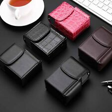 Black Brown Pink Cigarette Hard Case pouch Leather Flip Top Lighter Holder