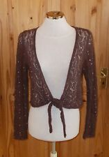 Monsoon marron tricot crochet sequin mohair laine cardigan haussement top tie-front 12