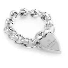 Gucci Sterling Silver Chunky Chain & Heart Charm Ring 181341J84008106