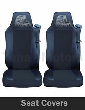 2x VOLVO FH12 FH16 FL FM Seat Covers Tailored HGV Truck Lorry Black / Black LOGO