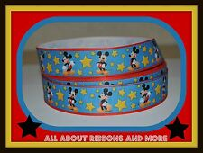 7/8 INCH MICKEY MOUSE WITH STARS GROSGRAIN RIBBON- 1 YARD