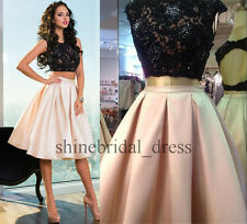 Two Pieces Black Lace Short Cocktail Homecoming Dresses Prom School Formal Gowns