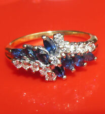 BEAUTIFUL SECONDHAND 18ct YELLOW GOLD SAPPHIRE AND DIAMOND CLUSTER RING SIZE N
