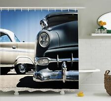 American Classics Old Style 50s Auto Wheels Transportation Shower Curtain Set