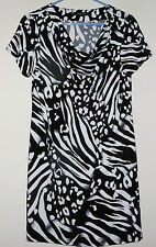 EUC Style CO.  Women's ZEBRA Print SHORT SLEEVE STRETCH Dress sz MEDIUM M