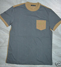 Authentic Mens Prada Grey & Brown Two Tone Cotton Jersey Crew Neck T-Shirt S