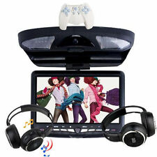 "9"" LCD Flip Down Overhead Roof Mount Swivel Car DVD Player Game SD+ 2 Headphone"