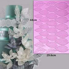 Giant Sugar Lace Mat Flower Leaves Fondant Cake SIlicone Mould Cupcake Molds