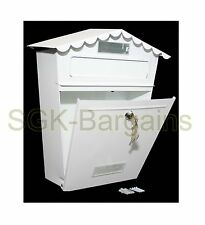 Large White Lockable Mailbox Post Letter Box Coated Steel Wall Mounted 2 Keys