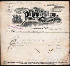 "California Winery Sacramento 1908  ""Oldest Winery in State""  Vintage Letterhead"
