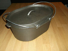 Large Oval Black Cast Iron Stock Pot Dutch Oven Soup Stew Pot 9 Litre Capacity