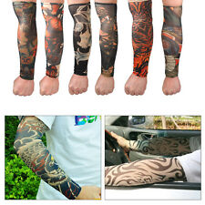 NEW 6x Men Temporary Fake Tattoo Slip On Stretch Seamless Arm Sleeves Stocking