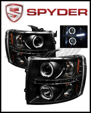 Spyder Chevy Silverado 1500 07-13 Projector Headlights LED Halo LED Blk