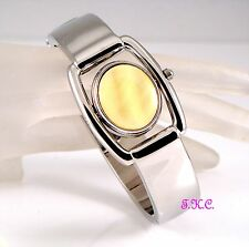 Vintage Deco Silver Yellow Honey Calcite Fob, Flip Spinner Ladies Bangle Watch