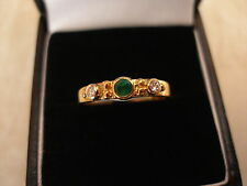 18 CARAT GOLD EMERALD & DIAMOND 3 STONE RING BNIB MADE IN ENGLAND