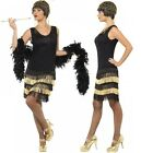 Ladies Black/Gold Beaded 1920s Flapper Fancy Dress Costume Outfit Size 8-18