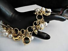 "Honora Cultured Pearl Bronze Charm Bracelet   ""YELLOW""    Large ""8""    NWT"