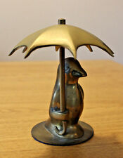 "Vintage Brass Cute Bird Holding Umbrella 4.75"" Tall Made in Korea"