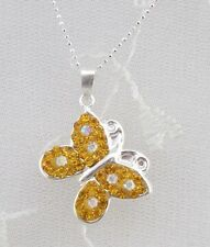 925 Sterling Silver Butterfly Necklace Yellow Crystal And CZ Jewelry NEW