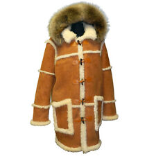 MEN'S COGNAC OLD SCHOOL SUEDE SHEARLING TOGGLE BUTTONS COAT,  RACCOON FUR, XXL